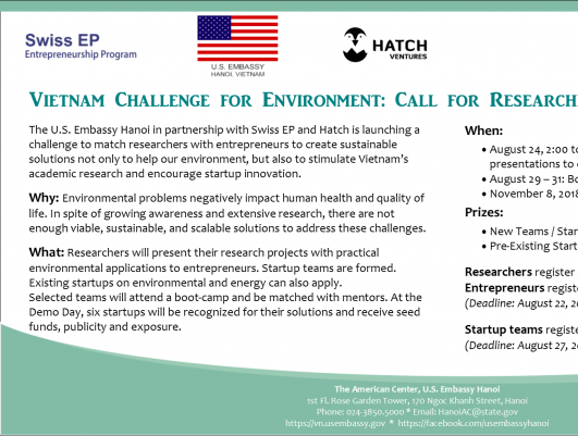 Cuộc thi khởi nghiệp vì môi trường dành cho các nhà nghiên cứu và người khởi nghiệp